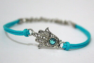 Hamsa Hand Lucky Charm Sky Blue Bangle Cuff Bracelet Adjustable Evil Eye Jewelry