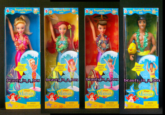 Tropical Splash Ariel Eric Attina Arista Little Mermaid Disney Doll Barbie Lot 4