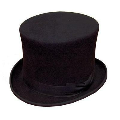 GENTS BLACK FORMAL TOP HAT 100% WOOL SATIN LINED NEW!!!