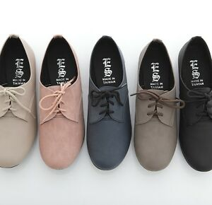 BN-Women-039-s-Lace-Up-Flat-Oxford-Flats-Boots-Shoes-Blue-Red-Pink-Yellow-Purple-BLK