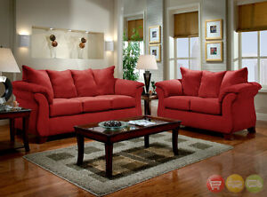 Modern Red Fabric Sofa LoveSeat Casual Living Room Furniture Set 6700 R