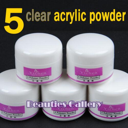 5Pc Clear Acrylic Powder Liquid Nail Art Tips UV gel glitter Decoration Kit Set