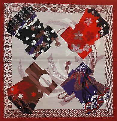 Furoshiki Japanese Fabric Cloth Red 'Kimono Through the Seasons' Cotton 50cm