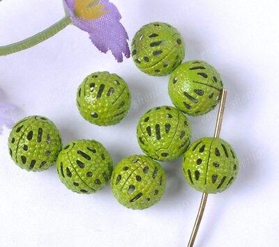 FREE SHIP Wholesale 100Pcs green hollow Round Filigree Loose charm Beads SH308