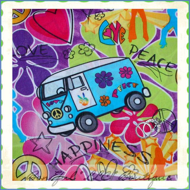 BonEful Fabric FQ Groovy Hippie Girl Peace Love Heart VW Flower Car Van Bus Word