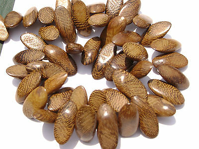 CL-98 Wood Bead Robles Handmade, Wax Polished Slide Cut Oval, 16 in strand