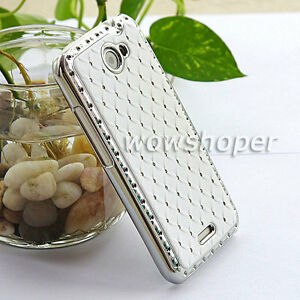 Rhinestone-Bling-Chrome-Plated-Hard-Skin-Case-Cover-For-HTC-ONE-X-White