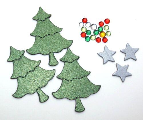 DIY Mini Christmas Tree Chipboard Die Cut Embellishment Stickers Set 24 pieces
