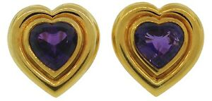 Colorful-TIFFANY-amp-Co-by-PALOMA-PICASSO-AMETHYST-HEART-amp-YELLOW-GOLD-EARRINGS