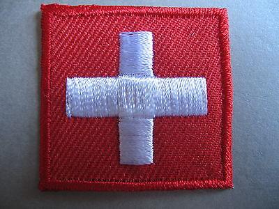 Swiss Flag Small Iron On/ Sew On Cloth Patch Badge SWITZERLAND Schweiz Suisse CH