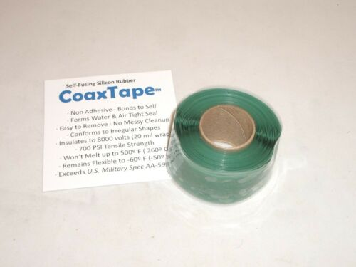 COAX TAPE 20milx1x10' GREEN SELF-FUSING SILICONE RESCUE REPAIR CABLE WRAP SEAL