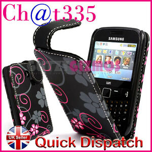 PINK-FLOWER-DESIGN-LEATHER-FLIP-POUCH-CASE-COVER-FOR-SAMSUNG-CHAT-CH-T-335-S3350