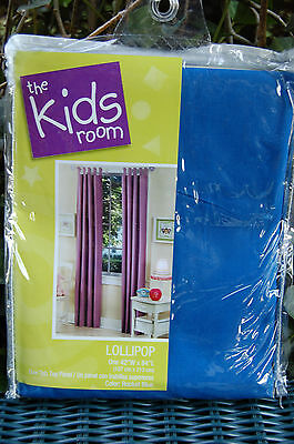 "The Kids Room Lollipop Royal Blue Tab Top Curtain Panels 84""L  Rocket Blue NIP"