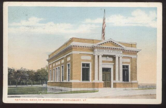 Postcard MIDDLEBURY,Vermont/VT  National Bank view 1910's