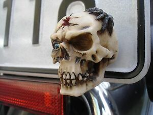 2-NEW-Custom-Skull-License-plate-tag-frame-bolts-Motorcycle-bike-hot-rod-1-4-20