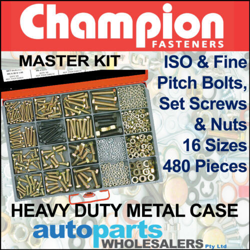 CHAMPION MASTER KIT METRIC HIGH TENSILE BOLTS, SET SCREWS & NUTS (480 Pieces)