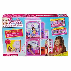BARBIE-2-STORY-VACATION-BEACH-HOUSE-PINK-DOLLHOUSE-Brand-New