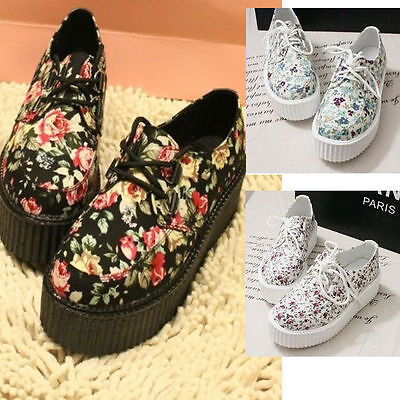 2015 hot Womens Floral Lace Up High Punk Checker Platform Flats Creeper Shoes