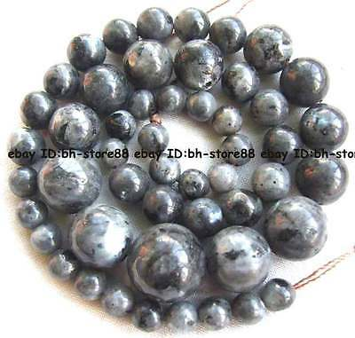 6-14mm Black Larvikite Graduated Round Gemstone Beads 15''