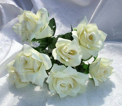 84 OPEN ROSES ~ IVORY CREAM ~ Soft Silk Wedding Flowers Bouquets Bridal DIY New