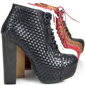 Ladies-Platform-Booties-High-Heels-Woven-Mesh-Shoes-Womens-Lace-Up-Ankle-Boots