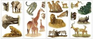 19 New SAFARI ANIMALS WALL STICKERS Zebras Lions Elephants Decals Jungle Decor