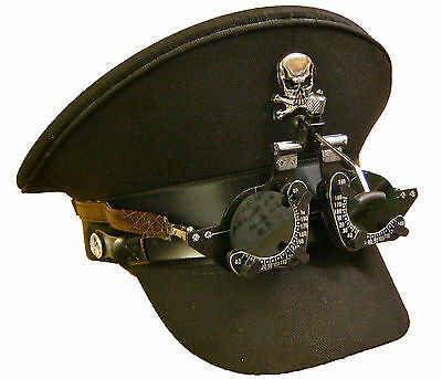 SDL Steam Punk military hat with handmade optical goggles with green lens