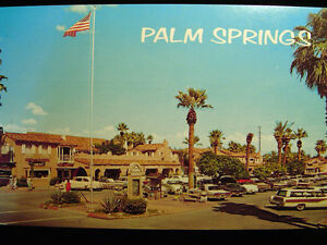 Palm springs ca plaza shopping center postcard 1950s ebay for Shopping in palm springs ca