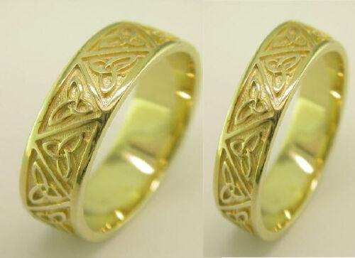 Irish Handcrafted 14k Gold Celtic Trinity Knot Design Wedding Band Ring Set