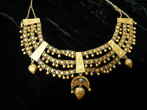 ANTIQUE-ETHNIC-KURDISH-21K-GOLD-NECKLACE-A-MUSEUM-PIECE