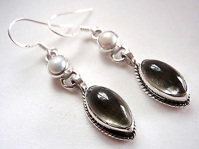 Pearl and Green Amethyst Marquise 925 Sterling Silver Dangle Drop Earrings New