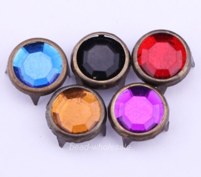 new arrival 200pcs colored rock round Antique bronze plated sharp stud rivet