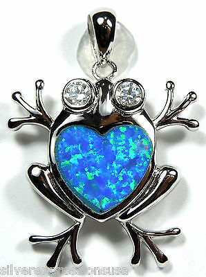 High Quality Blue Heart Fire Opal Inlay Solid 925 Sterling Silver Frog Pendant
