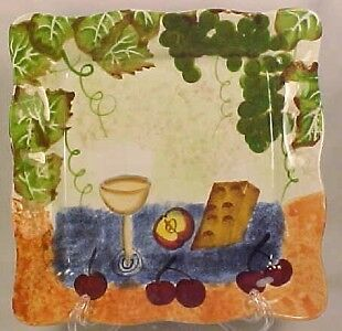 Colorful WINE & CHEESE PLATE Jay Import Co GRAPES FRUIT