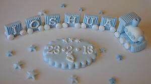 Handmade Edible Train Birthday Christening Cake Decoration Topper
