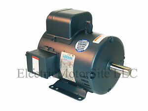 leeson 131537 5 hp 1740 rpm single phase air compressor Electric Motor Baldor Motors