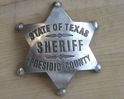 STATE OF TEXAS SHERIFF BADGE BW 80 POLICE  WESTERN