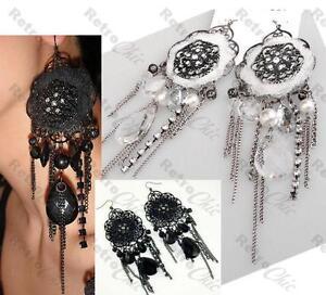 5-034-long-LACE-VICTORIAN-gothic-BIG-CHANDELIER-EARRINGS-vintage-rhinestone-crystal