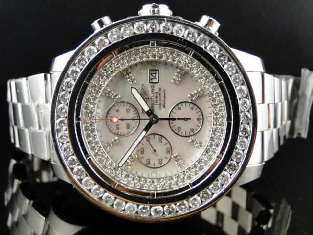 Custom Brand New Mens Breitling Super Avenger 1 Row Big 51 Mm Diamond Watch 9 Ct