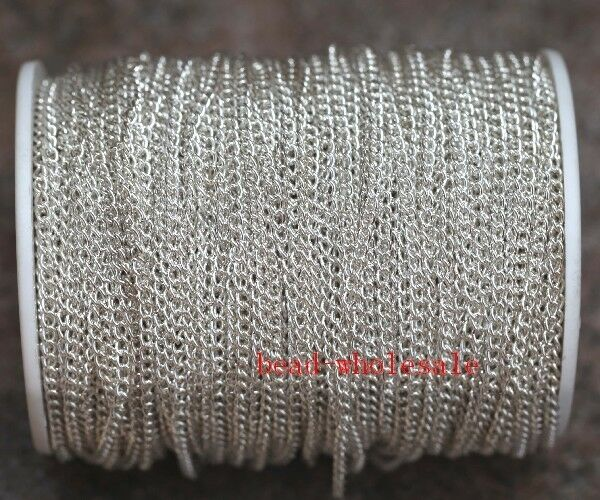 New 5m/100m Silver/Golden Curb Open Link Metal Chain Lot For Necklace Bracelet