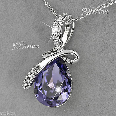 9K GF WHITE GOLD MADE WITH SWAROVSKI CRYSTAL PENDANT WEDDING BRIDESMAID NECKLACE
