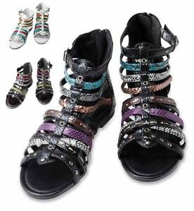 New-Womens-Gladiator-Strappy-Flat-Sandals-Black-Charcoal-Multi-US-size-6