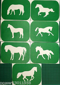 Pack-of-7-HORSES-Vinyl-Tattoo-Body-Art-Stencils-Glitter-Airbrush-Air-Brush-Art