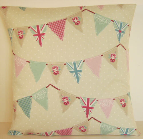 "Auction Fryetts Union Jack Bunting Duck Egg and Pink 22""  Cushion Cover"