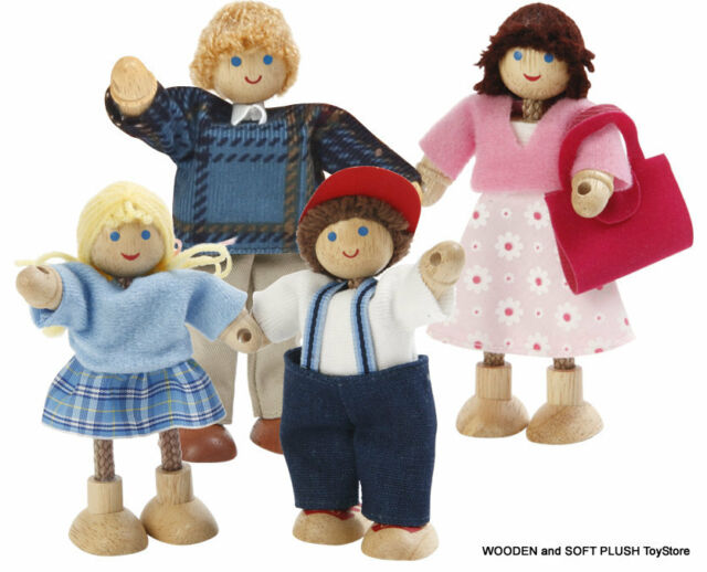 NEW childs gift toy WOODEN DOLLS flexible bendable FAMILY x4 PEOPLE pretend play