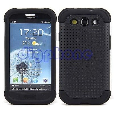 Black Plastic+Soft Silicone Case Cover for Samsung Galaxy S3 S iii 3 i9300