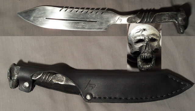 Zombie Skull Hand-Forged Knife Antique Railroad Spike Blade Saw Train Skeleton