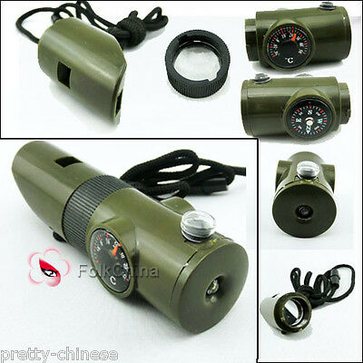 7 In 1 Military Survival Whistle Torch Life Saving Tool Camping Hiking Accessory