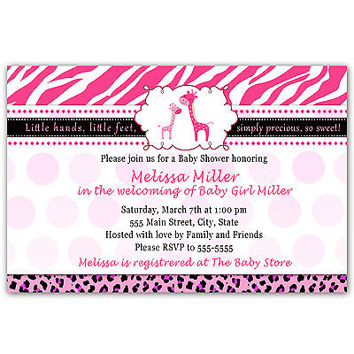 30 Giraffe Baby Shower Invitation Leopard Zebra Party Invite Personalized Girl