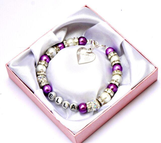 Personalised Bridesmaid Wedding Bride Flower Girl Birthday Charm Bracelet in Box